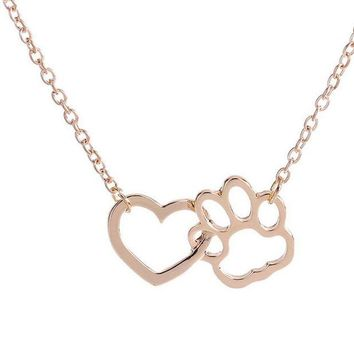 DCCKV2S Dog Paw shape + Heart Shape Necklace For Women Personalized Fashion Jewelry (Gloden)