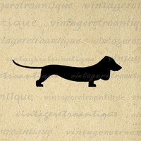 Digital Graphic Dachshund Wiener Dog Silhouette Image Printable Download Vintage Clip Art for Transfers Printing etc HQ 300dpi No.2116