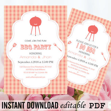 BBQ Party Invitation Editable PDF Template - 5 x 7 Gingham Barbeque Invite - Baby Shower - Birthday 30th, 40th, 50th, 60th - DIY You Print