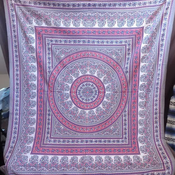 Pink and Grey Hippie Mandala Tapestry