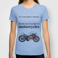 """""""For some there's therapy. For the rest of us there's motorcycles"""" Yamaha Original Handmade Drawing T-shirt by CuentosDelBondi"""