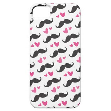 Trendy black mustache pattern with pink hearts iPhone 5 cases from Zazzle.com