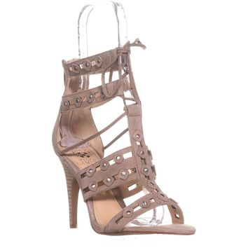 Vince Camuto Kazie Studded Lace Up Heeled Sandals, Cashmere, 8 US