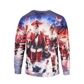 2017 autumn and winter new Christmas 3D printing sweater Men plus cashmere sweater