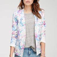 Watercolor Floral Print Blazer