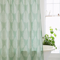 Leaf Block Print Shower Curtain in Green - Urban Outfitters