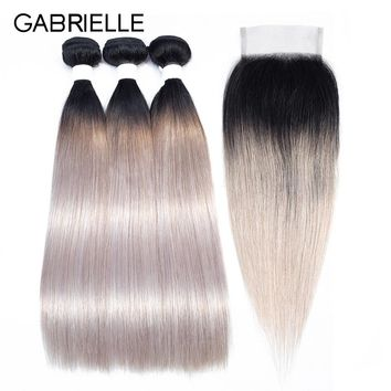 Gabrielle Ombre Hair Ot Silver Grey Brazilian Straight Hair Bundles with Closure 100% Non-remy Human Hair Extensions