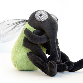 Green House Fly - Plush Halloween Toy, plushie Insect, stuffed animal, funny soft toy