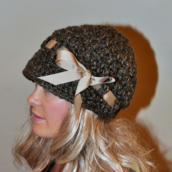 Brim Hat Brim Beanie Newsboy Cap CHOOSE COLOR Barley Brown Crochet Winter Women Girly Gift under 50