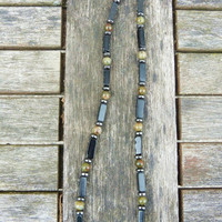 "Mens Gemstone Necklace Obsidian Hematite and Jasper. """"Free Worldwide Shipping"""""