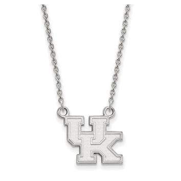 NCAA Sterling Silver U of Kentucky Small 'UK' Pendant Necklace