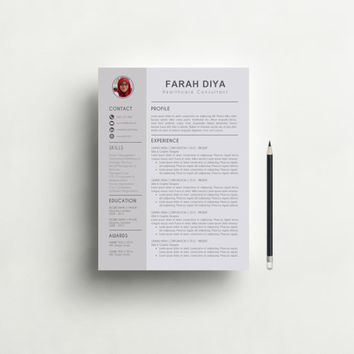 Resume Template with Photo - Professional Resume Design, CV, Teacher Resume, CV Template, Modern and Creative Resume Template