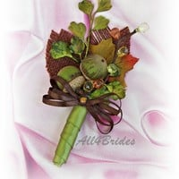 Real acorns fall wedding boutonniere, olive green and brown weddings
