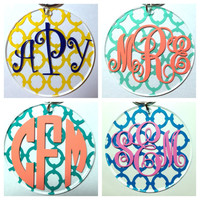 Monogram Keychain - Linked Circle Pattern - Lots of Colors and Monogram Styles - Bridesmaid Newlywed Teacher Big Little Sorority Sister Mom