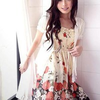 Floral Printing Chiffon Dress