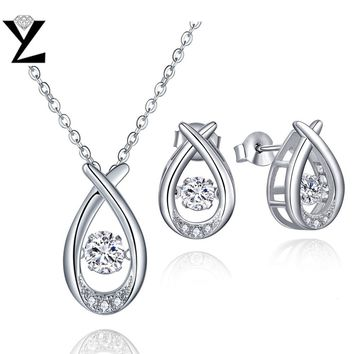 YL 925 Sterling Silver Jewelry Sets Fine Jewelry with Natural Dancing Topaz for Women Wedding Engagement Anniversary