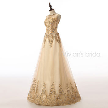 Vivian's Bridal Champagne Long Evening Dresses 2016 A Line Tulle Floor Length Lace Crystal Beaded Formal Evening Gowns Dresses