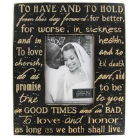 "5"" x 7"" Black & White Wedding Vows Picture Frame 
