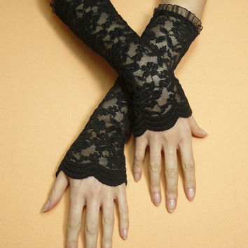 Long Black Retro Armwarmers, Fingerless Gloves, Lace, Stretchy Regency Sleeves, Regency, 20's Style