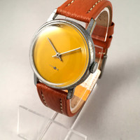 "Minimalist Vintage Soviet men's watch called ""VICTORY""( Pobeda),plain yellow dial, comes with high quality new leather band!"