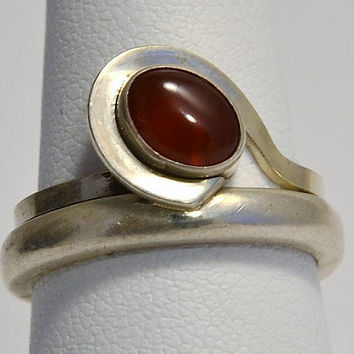 Modernist Carnelian Ring - Sterling Silver - Oval Red Carnelian Stone - Vintage Cocktail Ring - Fashion - Size 6.75