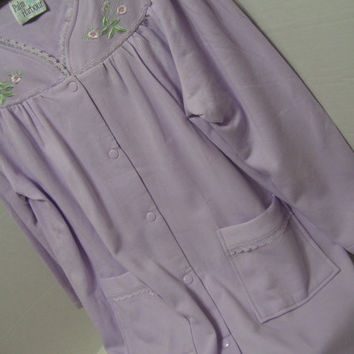 Waltz Robe Housecoat Quilted Knit Soft and Cozy Long Sleeve Snap Front Sz Medium Lavender Lace Resort Cruise Lounging Treasury Sale Coupon