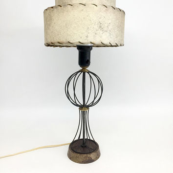 Mid Century Lamps, Antique Table Lamp, Mid Century Modern, Milk Glass and Rawhide Shade, Mid Century Table Lamp, Mid Century Lamp with Shade