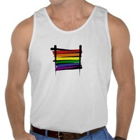 Rainbow Gay Pride Brush Flag Shirt from Zazzle.com
