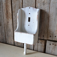 Vintage White Light Switch Cover with Small Compartment
