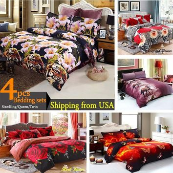 3D Printed Tiger and Lily Flower 4pcs Bedding Sets Bedclothes Duvet Cover+Bed Sheet+2 Pillowcases Queen/King Size