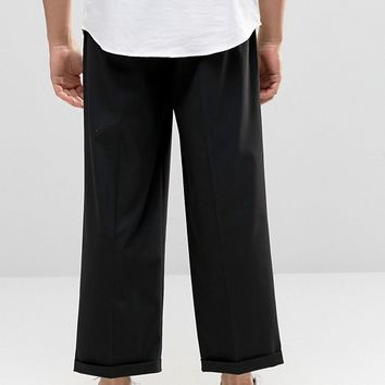 ASOS Wide Leg Smart Trousers In Black at asos.com
