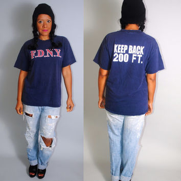 Vintage 1990s worn in Navy paper thin destroyed FDNY Fire Department  Keep Back oversize oversized GRUNGE  tshirt Large