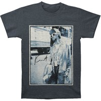 Nirvana Men's  Kurt Cobain Standing By Bus Photo Regular Mens T-shirt Heather Navy