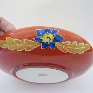 Czech Art Deco Pottery Low Bowl Flowers Iridescent Yellow Orange Squeeze Bag Accents- FL