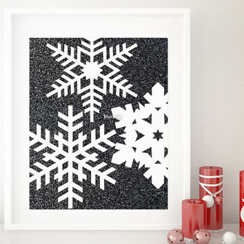 One year anniversary sale: geometric snowflakes black & white printable art, scandinavian Christmas printable. Black friday sale -gp232