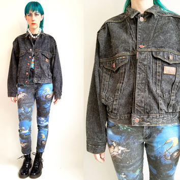 80s Clothing Jean Jacket Vintage Jean Jacket Black Denim Jacket Grunge Black Jean Jacket 80s Hip Hop Acid Wash Jean Jacket Size Medium Large