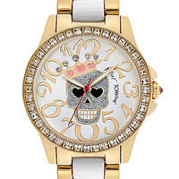 BetseyJohnson.com - CROWNED SKULL TWO TONE WATCH GOLD