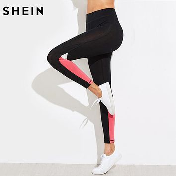SHEIN Color Block Leggings Bottoms for Women Fitness Leggings Women Casual Womens Activewear 2017 Womens Fitness Pants