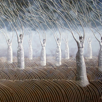 Women in the Wind Surreal Landscape Painting, Home Decor, Tree People Surreal Landscape
