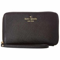 Kate Spade PWRU3719-001 Women's Cherry Lane Laurie Zip-Around Wristlet Black Leather Wallet