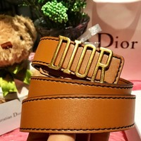 Dior 2019 new women's retro classic letter head thin belt Brown