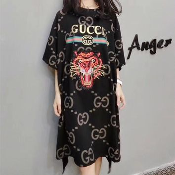 """Gucci "" Women Loose Casual Personality Embroidery Sequin Tiger Head GG Letter Print Short Sleeve T-shirt Dress"