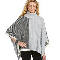 TWO by Vince Camuto Waffle & Cable-Knit Turtleneck Poncho - Vanilla