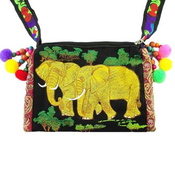 Beautiful Embroidered Elephant Family Animal Themed Cross Body Bag in Gold | Handmade