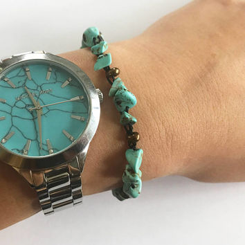 Turquoise Adjustable woven bracelet with light stone turquoise beads and brown glass beads adjustable crocheted bracelet