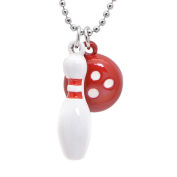 Red Bowling Ball and Pin Necklace
