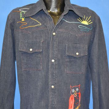 70s Owl Sunset Embroidered Western Shirt Medium