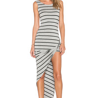 De Lacy Dawn Dress in Heather Grey & Black Stripe