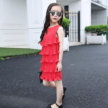 New summer girls tiered princess layered dress children's Mermaid sleeveless dresses kids solid Chiffon fashion clothes