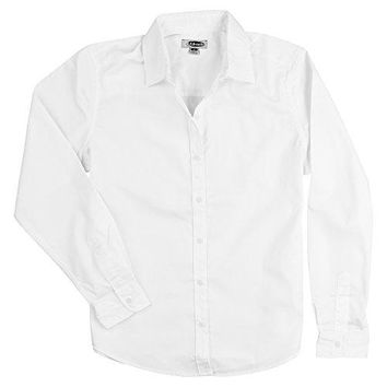 Edwards Womens Long Sleeve Button Down Cotton Twill Shirt